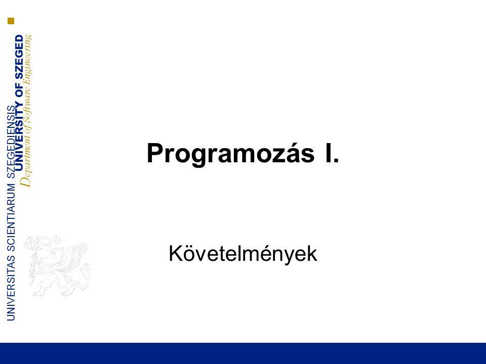 UNIVERSITY OF SZEGED D epartment of Software Engineering UNIVERSITAS SCIENTIARUM SZEGEDIENSIS Programozás I. Követelmények