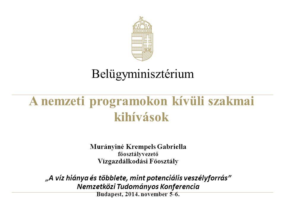 """A nemzeti programokon kívüli szakmai kihívások Murányiné Krempels Gabriella főosztályvezető Vízgazdálkodási Főosztály """" A víz hiánya és többlete, mint"""