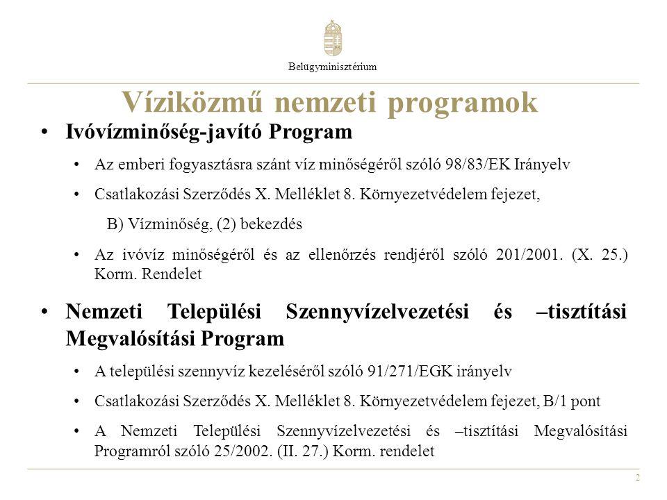 2 Víziközmű nemzeti programok Ivóvízminőség-javító Program Az emberi fogyasztásra szánt víz minőségéről szóló 98/83/EK Irányelv Csatlakozási Szerződés