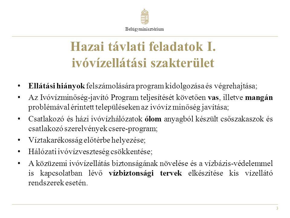 3 Hazai távlati feladatok I. ivóvízellátási szakterület Belügyminisztérium Ellátási hiányok felszámolására program kidolgozása és végrehajtása; Az Ivó