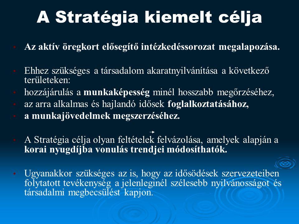 A Stratégia kiemelt célja Az aktív öregkort elősegítő intézkedéssorozat megalapozása.
