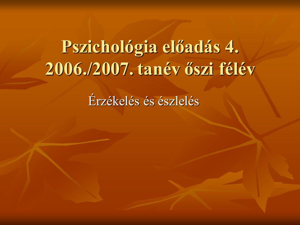 Pszichológia előadás 4. 2006./2007. tanév őszi félév Érzékelés és észlelés Érzékelés és észlelés