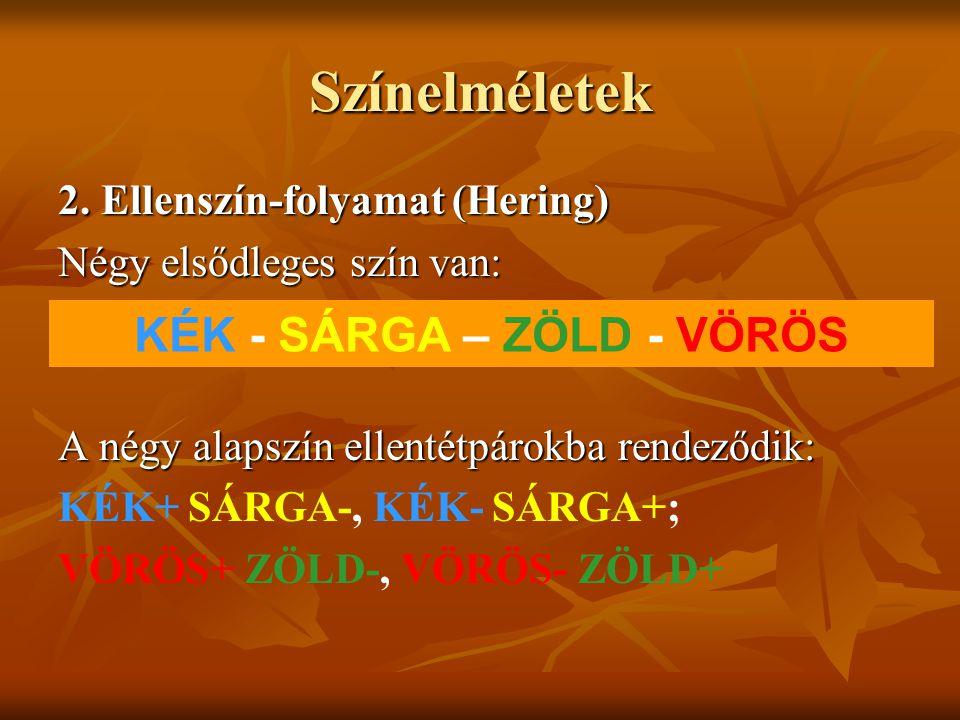 Színelméletek 2. Ellenszín-folyamat (Hering) Négy elsődleges szín van: A négy alapszín ellentétpárokba rendeződik: KÉK+ SÁRGA-, KÉK- SÁRGA+; VÖRÖS+ ZÖ