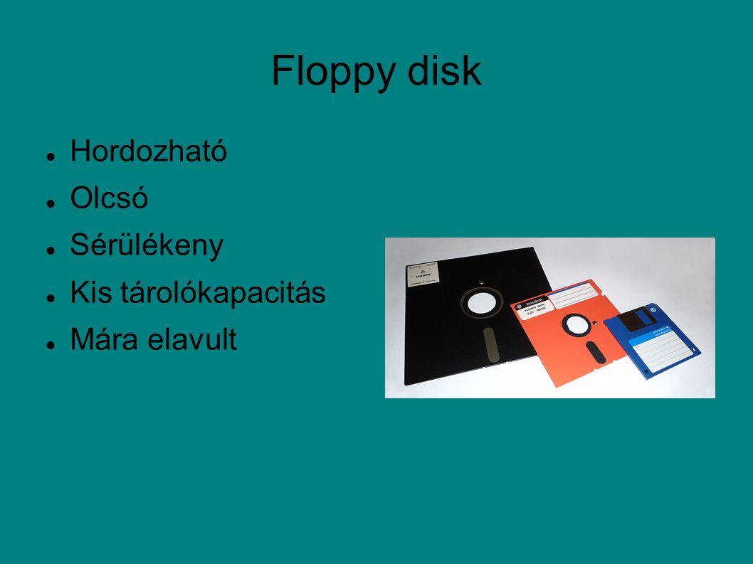 Floppy disk Hordozható Olcsó Sérülékeny Kis tárolókapacitás Mára elavult