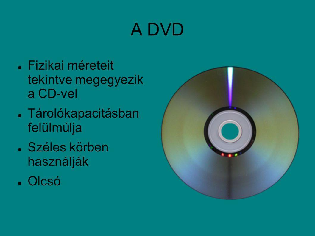 A DVD Fizikai méreteit tekintve megegyezik a CD-vel Tárolókapacitásban felülmúlja Széles körben használják Olcsó