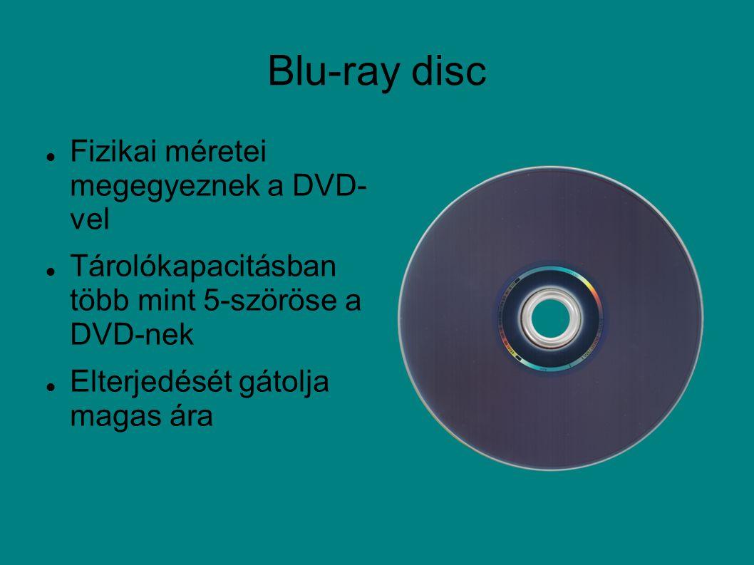 Blu-ray disc Fizikai méretei megegyeznek a DVD- vel Tárolókapacitásban több mint 5-szöröse a DVD-nek Elterjedését gátolja magas ára