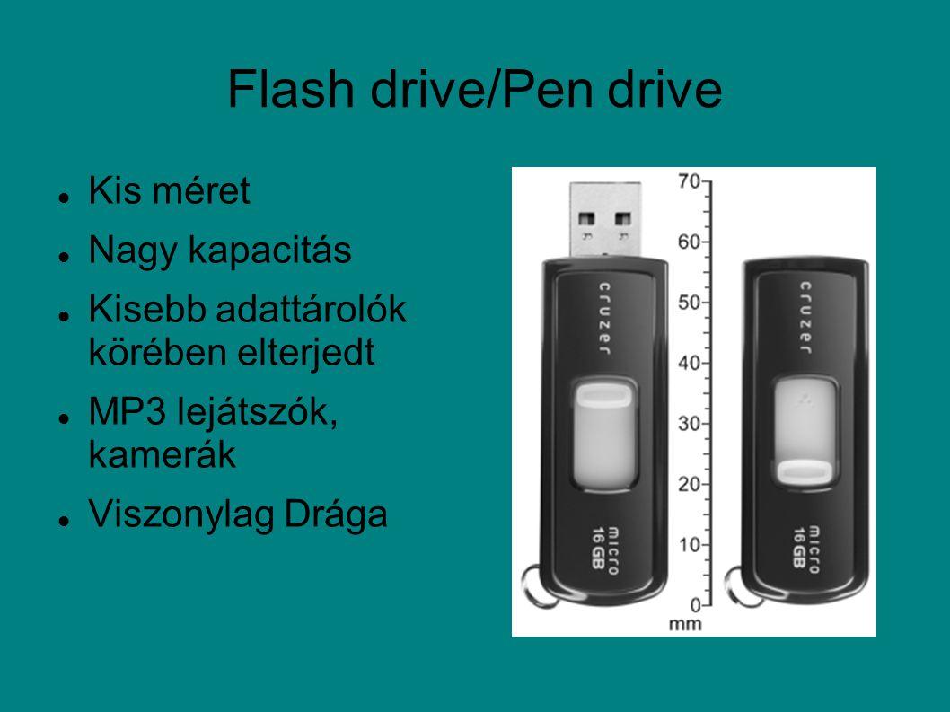 Flash drive/Pen drive Kis méret Nagy kapacitás Kisebb adattárolók körében elterjedt MP3 lejátszók, kamerák Viszonylag Drága