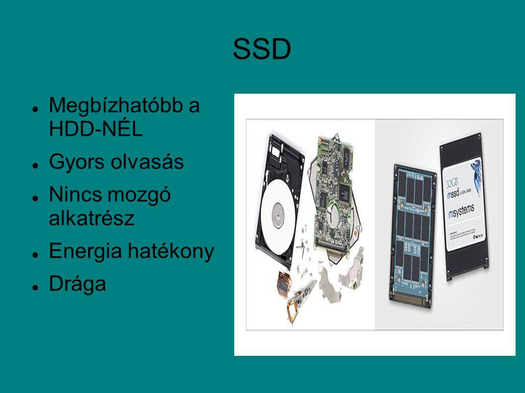 SSD Megbízhatóbb a HDD-NÉL Gyors olvasás Nincs mozgó alkatrész Energia hatékony Drága