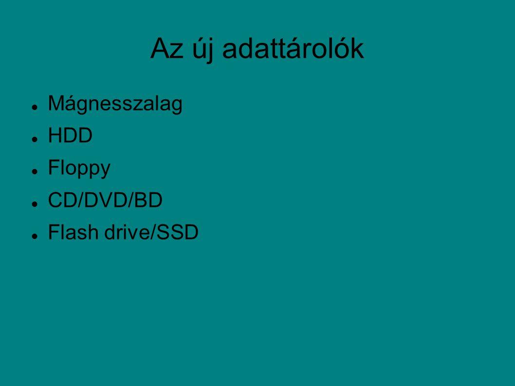Az új adattárolók Mágnesszalag HDD Floppy CD/DVD/BD Flash drive/SSD