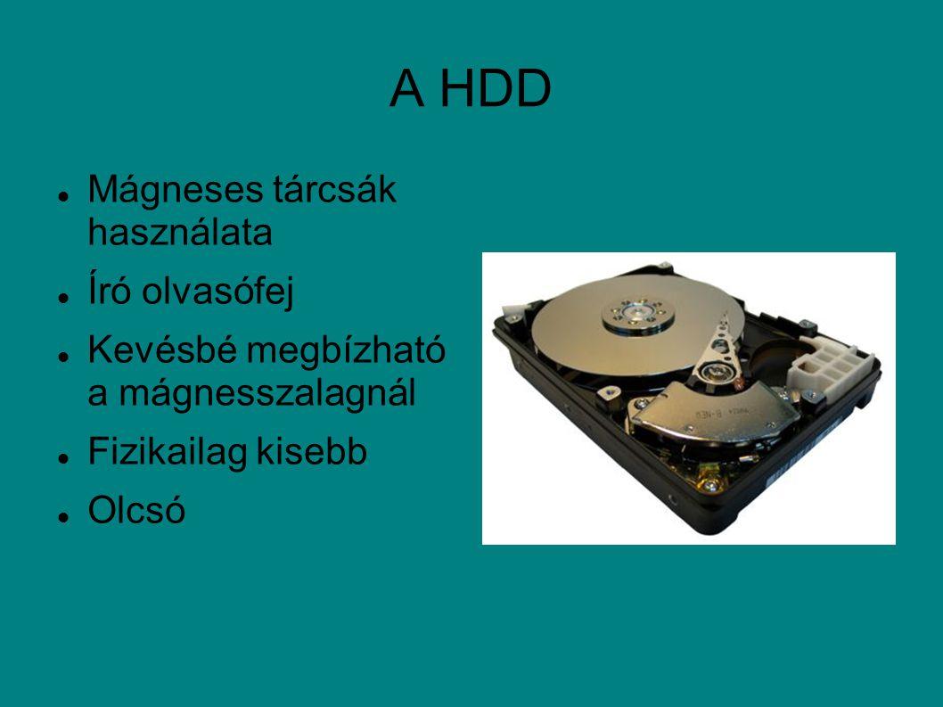 A HDD Mágneses tárcsák használata Író olvasófej Kevésbé megbízható a mágnesszalagnál Fizikailag kisebb Olcsó