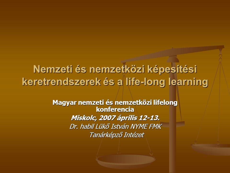 Nemzeti és nemzetközi képesítési keretrendszerek és a life-long learning Magyar nemzeti és nemzetközi lifelong konferencia Miskolc, 2007 április 12-13.