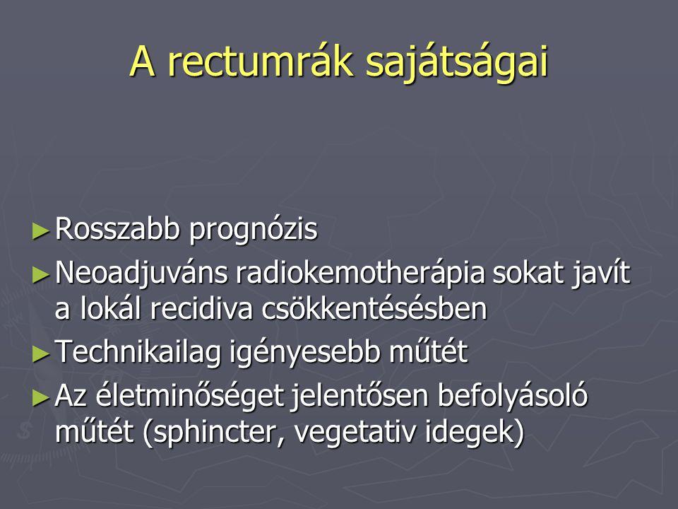 A rectumrák sajátságai ► Rosszabb prognózis ► Neoadjuváns radiokemotherápia sokat javít a lokál recidiva csökkentésésben ► Technikailag igényesebb műt