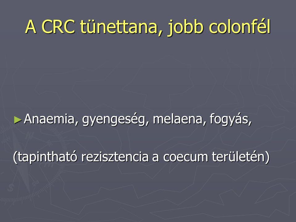 A CRC tünettana, jobb colonfél ► Anaemia, gyengeség, melaena, fogyás, (tapintható rezisztencia a coecum területén)