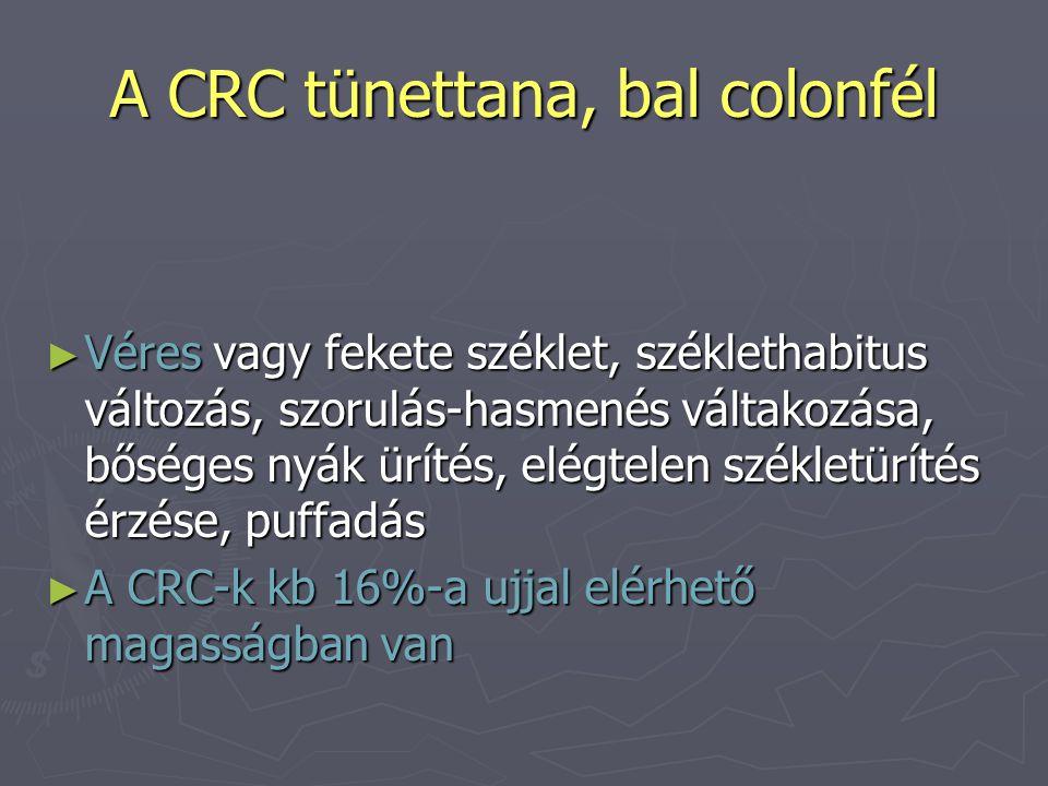 A CRC tünettana, bal colonfél ► Véres vagy fekete széklet, széklethabitus változás, szorulás-hasmenés váltakozása, bőséges nyák ürítés, elégtelen székletürítés érzése, puffadás ► A CRC-k kb 16%-a ujjal elérhető magasságban van