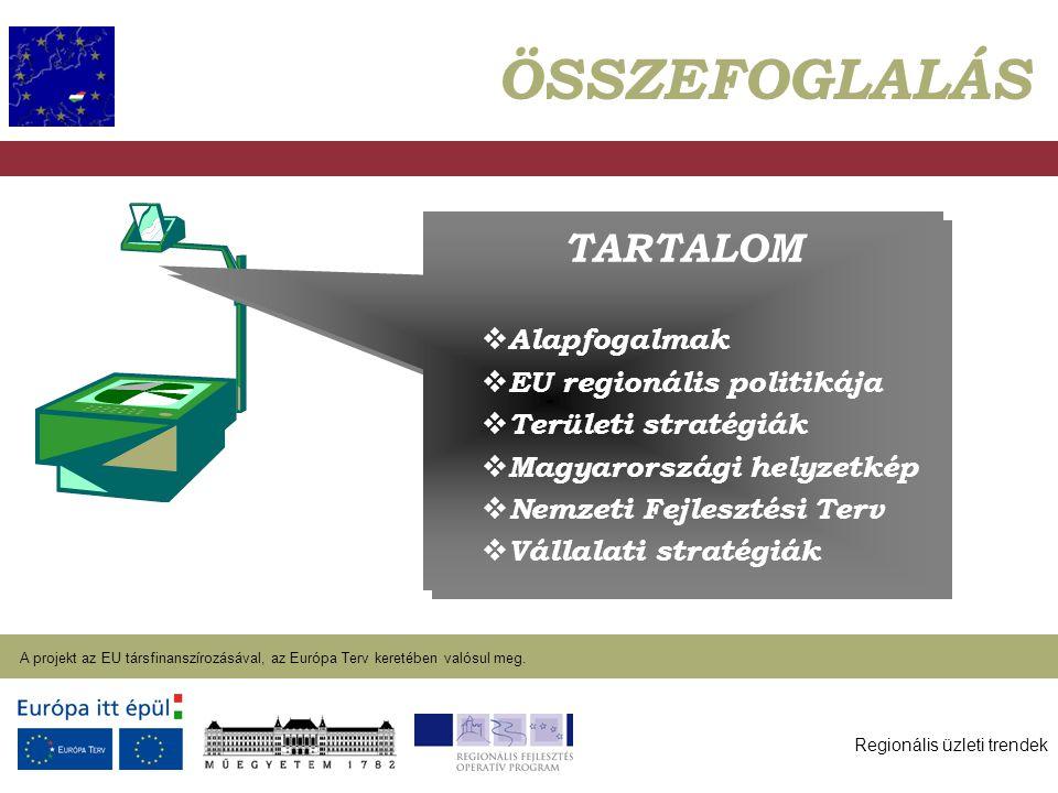 Regionális üzleti trendek A projekt az EU társfinanszírozásával, az Európa Terv keretében valósul meg. 2004. január 27. TARTALOM  Alapfogalmak  EU r