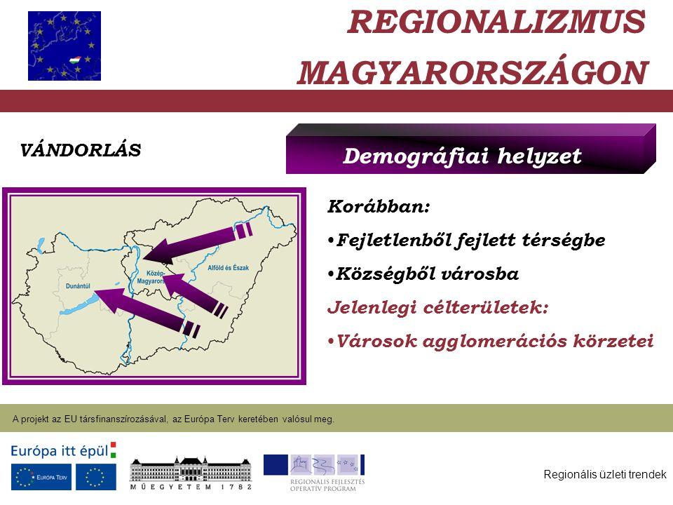 Regionális üzleti trendek A projekt az EU társfinanszírozásával, az Európa Terv keretében valósul meg. 2004. január 27. REGIONALIZMUS MAGYARORSZÁGON D