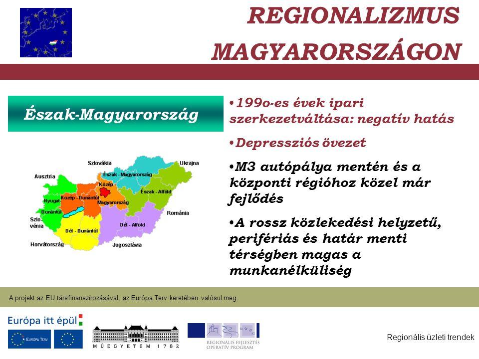 Regionális üzleti trendek A projekt az EU társfinanszírozásával, az Európa Terv keretében valósul meg.