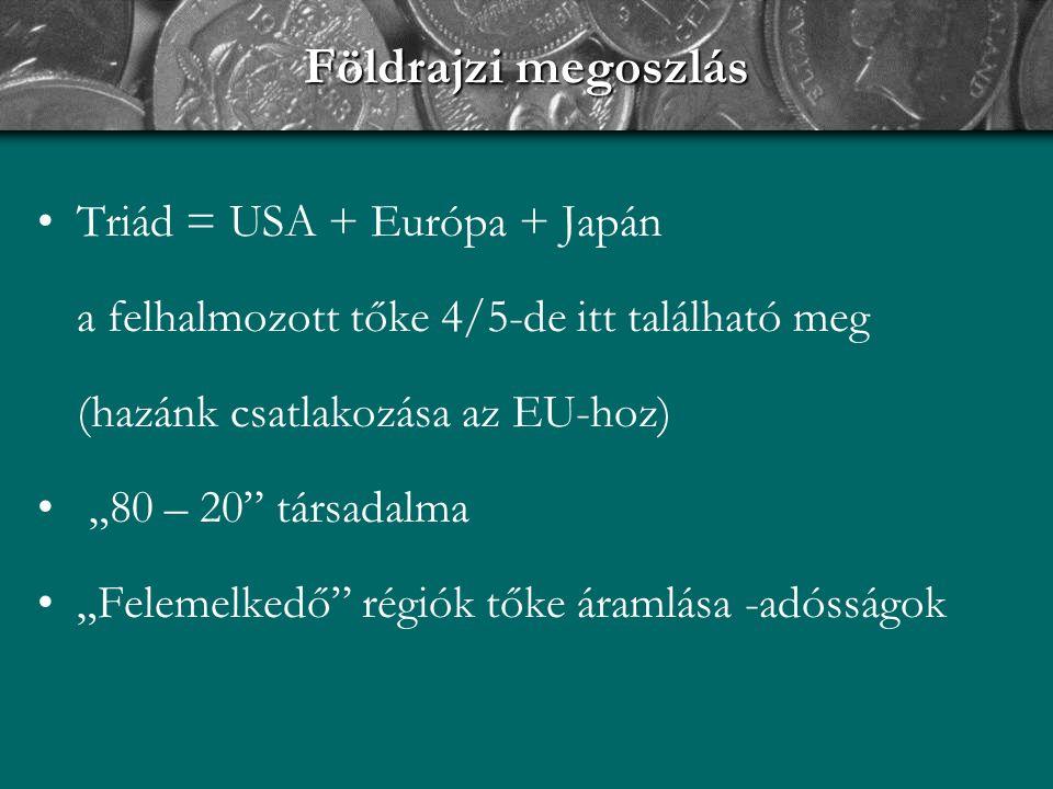 """Földrajzi megoszlás Triád = USA + Európa + Japán a felhalmozott tőke 4/5-de itt található meg (hazánk csatlakozása az EU-hoz) """"80 – 20"""" társadalma """"Fe"""