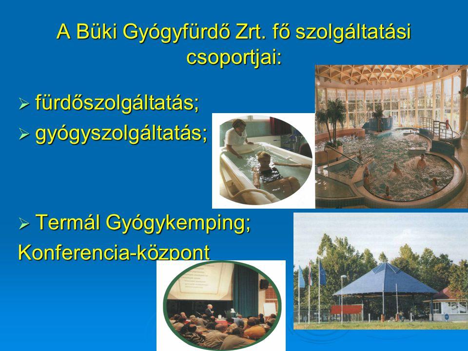 A Büki Gyógyfürdő Zrt. fő szolgáltatási csoportjai:  fürdőszolgáltatás;  gyógyszolgáltatás;  Termál Gyógykemping; Konferencia-központ