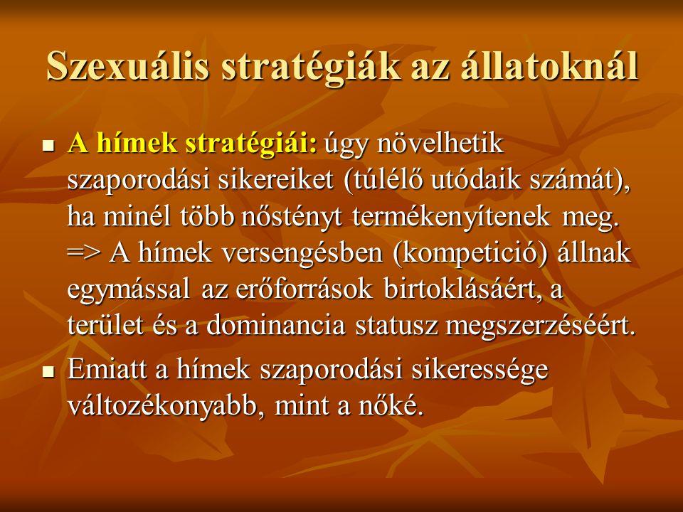 Szexuális stratégiák az állatoknál A hímek stratégiái: úgy növelhetik szaporodási sikereiket (túlélő utódaik számát), ha minél több nőstényt termékenyítenek meg.