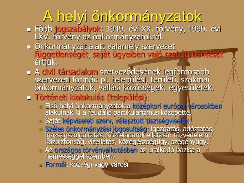 A helyi önkormányzatok Főbb jogszabályok: 1949. évi XX. törvény, 1990. évi LXV. törvény az önkormányzatokról. Főbb jogszabályok: 1949. évi XX. törvény