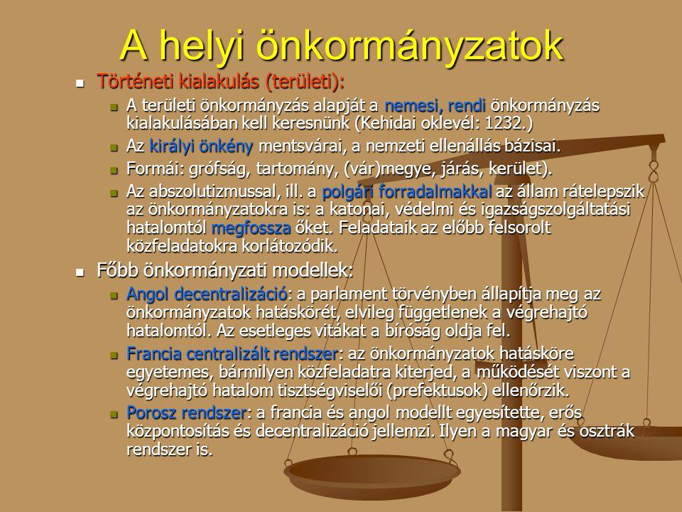 A helyi önkormányzatok Történeti kialakulás (területi): Történeti kialakulás (területi): A területi önkormányzás alapját a nemesi, rendi önkormányzás