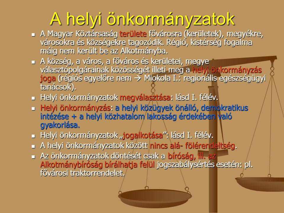A helyi önkormányzatok A Magyar Köztársaság területe fővárosra (kerületek), megyékre, városokra és községekre tagozódik. Régió, kistérség fogalma máig