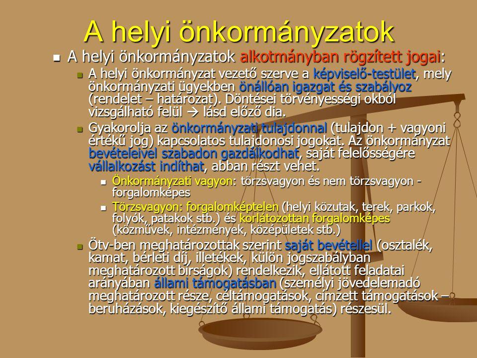 A helyi önkormányzatok A helyi önkormányzatok alkotmányban rögzített jogai: A helyi önkormányzatok alkotmányban rögzített jogai: A helyi önkormányzat
