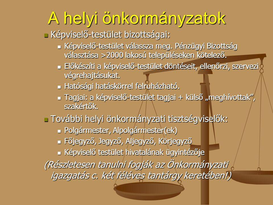 A helyi önkormányzatok Képviselő-testület bizottságai: Képviselő-testület bizottságai: Képviselő-testület válassza meg. Pénzügyi Bizottság választása