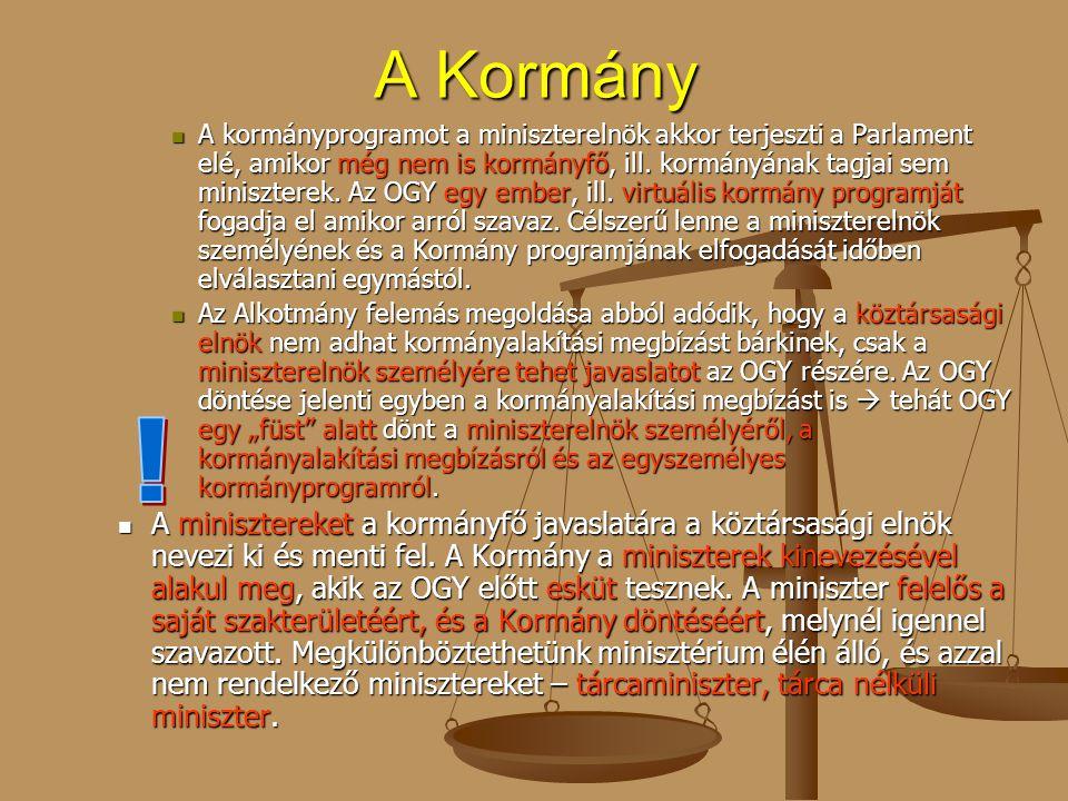 A Kormány A kormányprogramot a miniszterelnök akkor terjeszti a Parlament elé, amikor még nem is kormányfő, ill. kormányának tagjai sem miniszterek. A