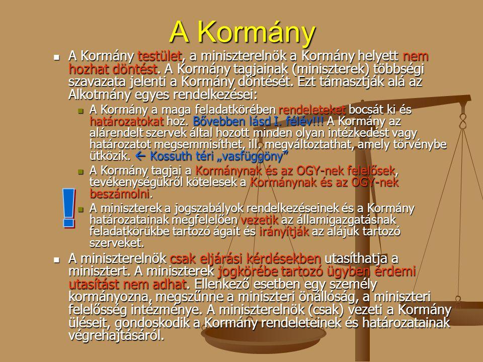 A Kormány A Kormány testület, a miniszterelnök a Kormány helyett nem hozhat döntést. A Kormány tagjainak (miniszterek) többségi szavazata jelenti a Ko
