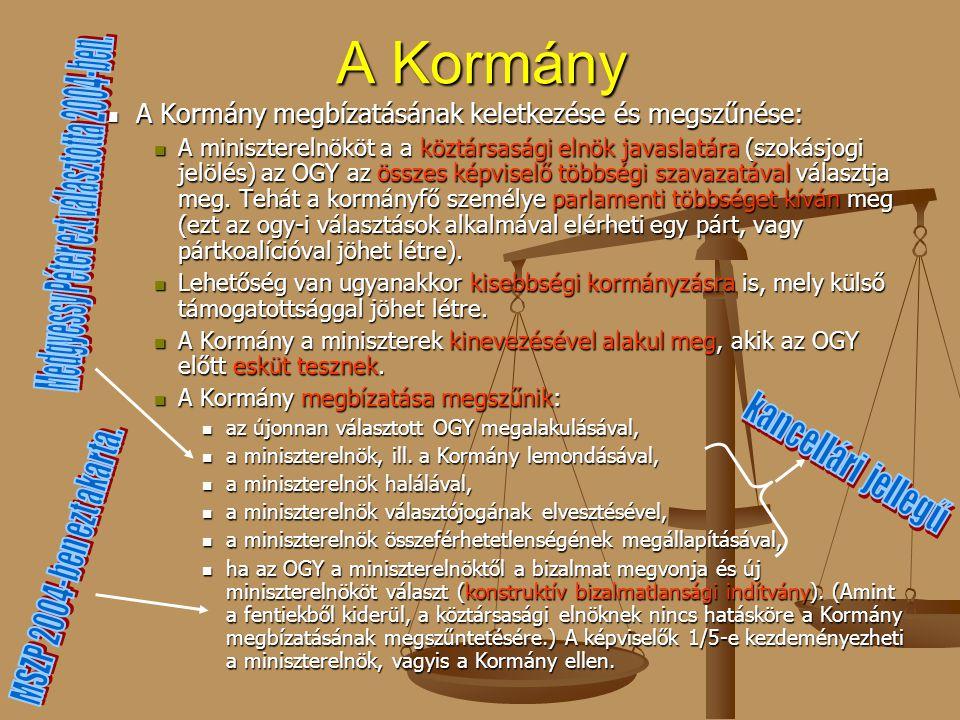 A Kormány A Kormány megbízatásának keletkezése és megszűnése: A Kormány megbízatásának keletkezése és megszűnése: A miniszterelnököt a a köztársasági