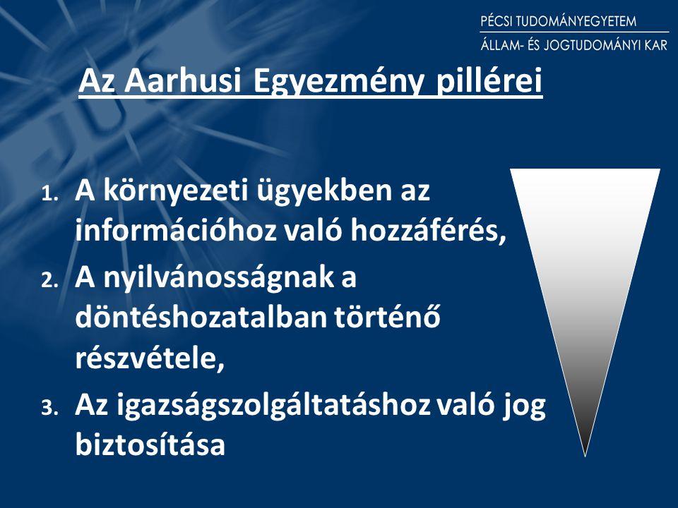 Az Aarhusi Egyezmény pillérei 1. A környezeti ügyekben az információhoz való hozzáférés, 2.