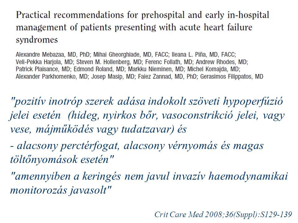 pozitív inotróp szerek adása indokolt szöveti hypoperfúzió jelei esetén (hideg, nyirkos bőr, vasoconstrikció jelei, vagy vese, májműködés vagy tudatzavar) és - alacsony perctérfogat, alacsony vérnyomás és magas töltőnyomások esetén amennyiben a keringés nem javul invazív haemodynamikai monitorozás javasolt Crit Care Med 2008;36(Suppl):S129-139