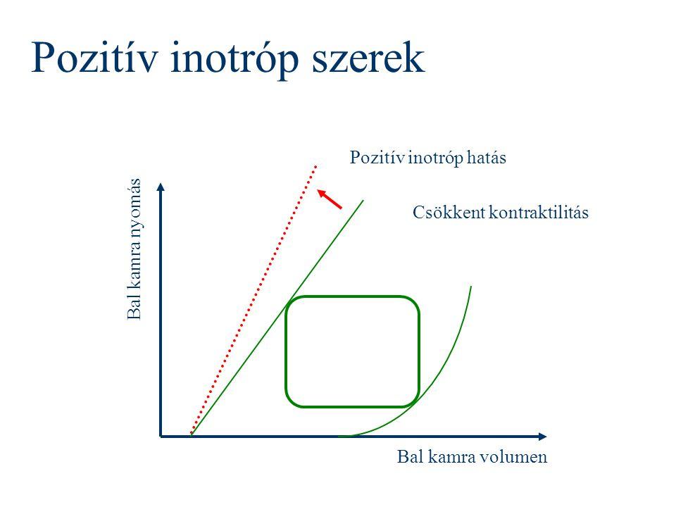Bal kamra nyomás Bal kamra volumen Csökkent kontraktilitás Pozitív inotróp hatás Pozitív inotróp szerek