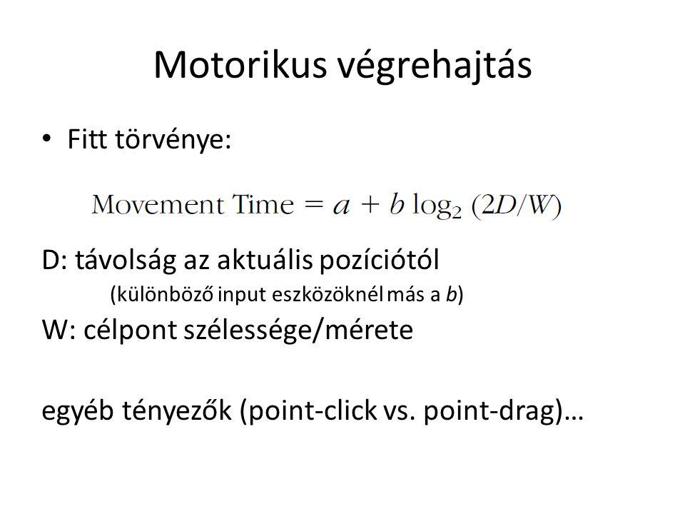 Motorikus végrehajtás Fitt törvénye: D: távolság az aktuális pozíciótól (különböző input eszközöknél más a b) W: célpont szélessége/mérete egyéb ténye