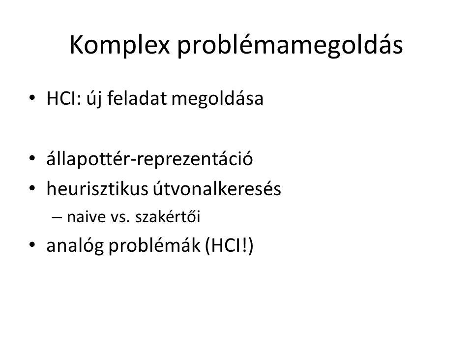 HCI: új feladat megoldása állapottér-reprezentáció heurisztikus útvonalkeresés – naive vs. szakértői analóg problémák (HCI!)