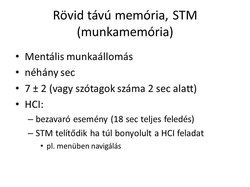 Rövid távú memória, STM (munkamemória) Mentális munkaállomás néhány sec 7 ± 2 (vagy szótagok száma 2 sec alatt) HCI: – bezavaró esemény (18 sec teljes