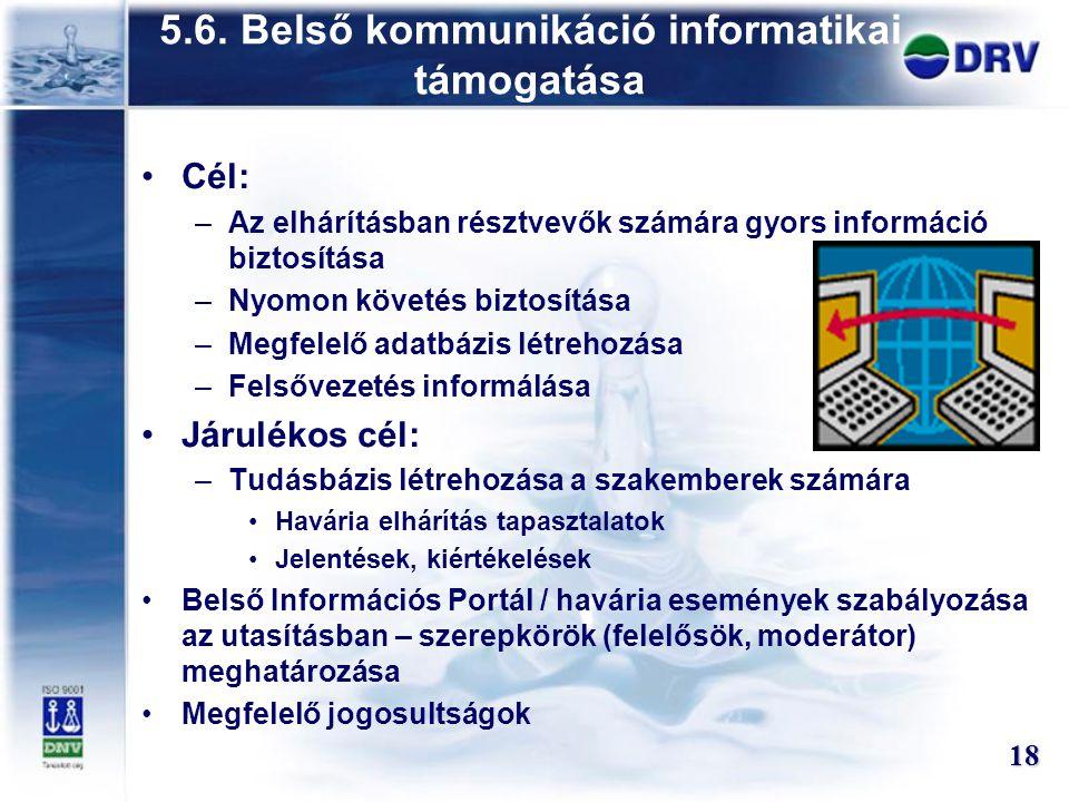 5.6. Belső kommunikáció informatikai támogatása Cél: –Az elhárításban résztvevők számára gyors információ biztosítása –Nyomon követés biztosítása –Meg