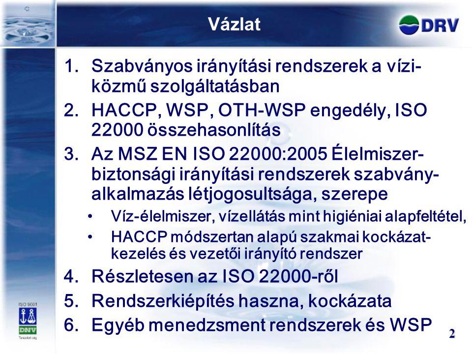 Vázlat 1.Szabványos irányítási rendszerek a vízi- közmű szolgáltatásban 2.HACCP, WSP, OTH-WSP engedély, ISO 22000 összehasonlítás 3.Az MSZ EN ISO 2200