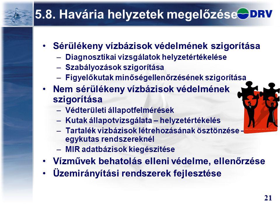 5.8. Havária helyzetek megelőzése Sérülékeny vízbázisok védelmének szigorítása –Diagnosztikai vizsgálatok helyzetértékelése –Szabályozások szigorítása