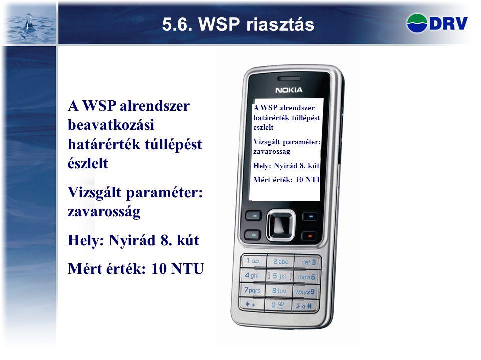 5.6. WSP riasztás 23 A WSP alrendszer beavatkozási határérték túllépést észlelt Vizsgált paraméter: zavarosság Hely: Nyirád 8. kút Mért érték: 10 NTU