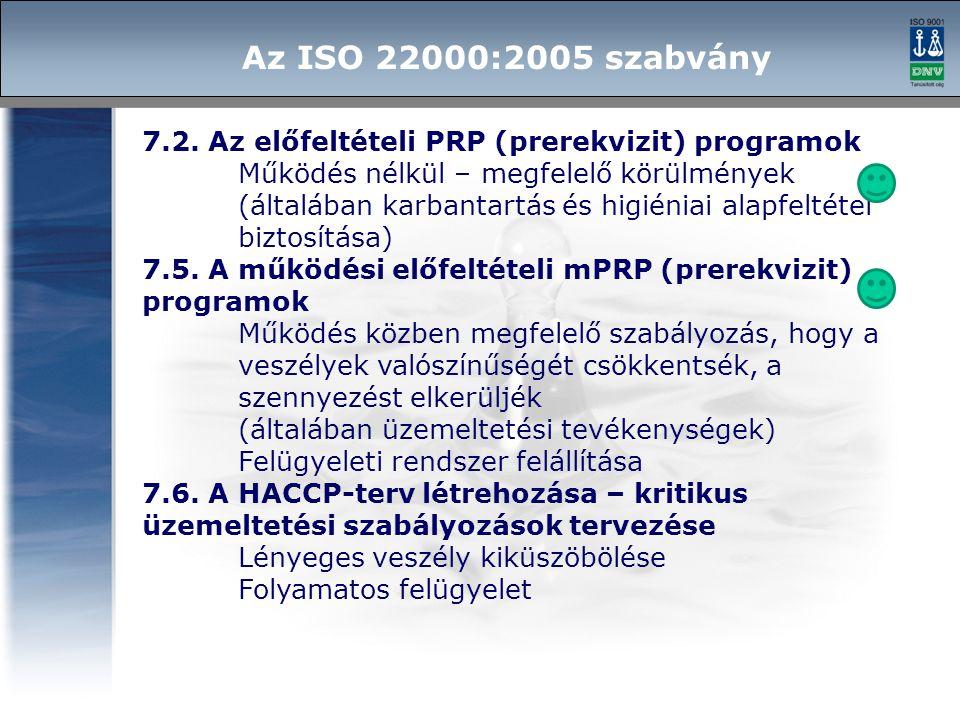 7.2. Az előfeltételi PRP (prerekvizit) programok Működés nélkül – megfelelő körülmények (általában karbantartás és higiéniai alapfeltétel biztosítása)