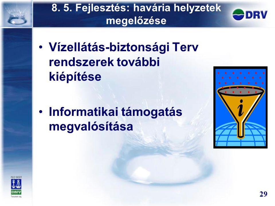8. 5. Fejlesztés: havária helyzetek megelőzése Vízellátás-biztonsági Terv rendszerek további kiépítése Informatikai támogatás megvalósítása 29