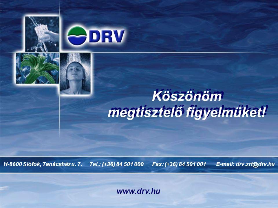 Köszönöm megtisztelő figyelmüket! H-8600 Siófok, Tanácsház u. 7. Tel.: (+36) 84 501 000 Fax: (+36) 84 501 001 E-mail: drv.zrt@drv.hu www.drv.hu