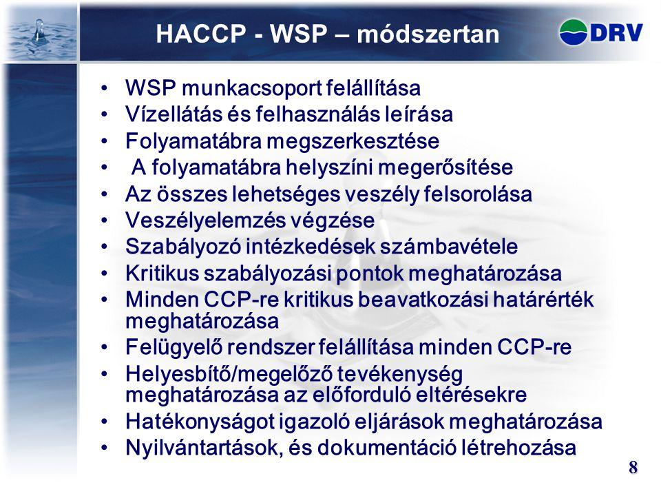 HACCP - WSP – módszertan WSP munkacsoport felállítása Vízellátás és felhasználás leírása Folyamatábra megszerkesztése A folyamatábra helyszíni megerős