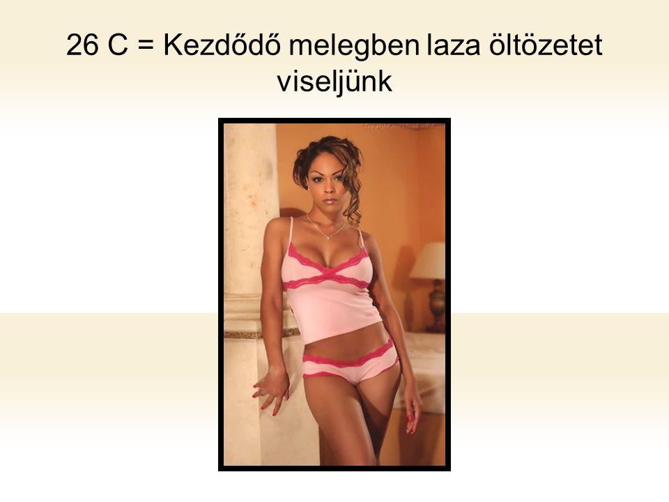 26 C = Kezdődő melegben laza öltözetet viseljünk