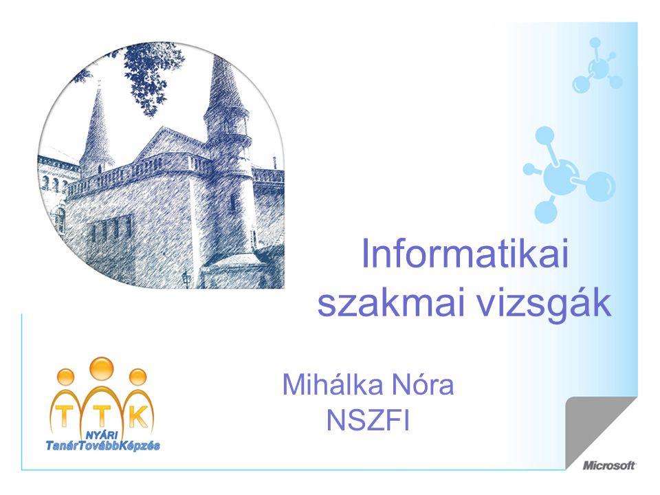 Informatikai szakmai vizsgák Mihálka Nóra NSZFI