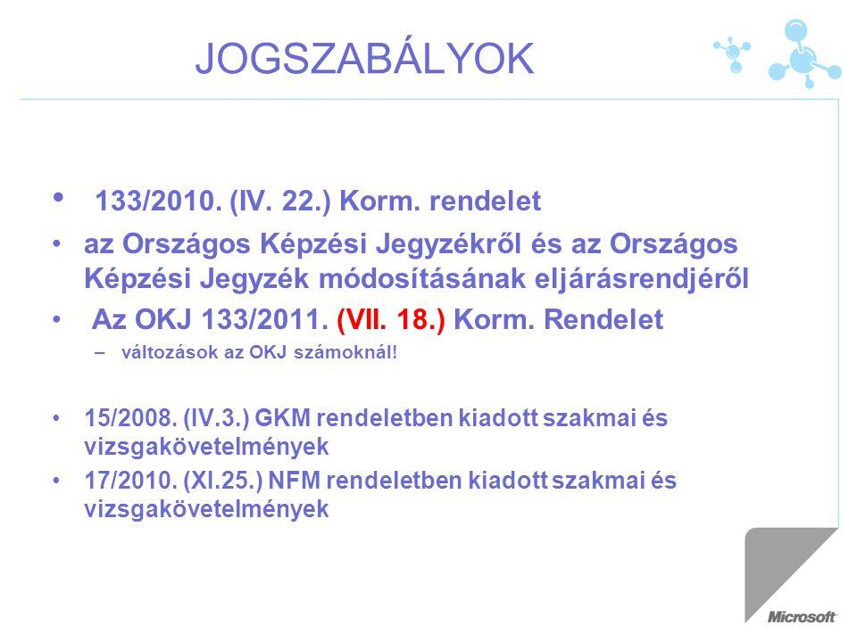 JOGSZABÁLYOK 133/2010. (IV. 22.) Korm. rendelet az Országos Képzési Jegyzékről és az Országos Képzési Jegyzék módosításának eljárásrendjéről Az OKJ 13