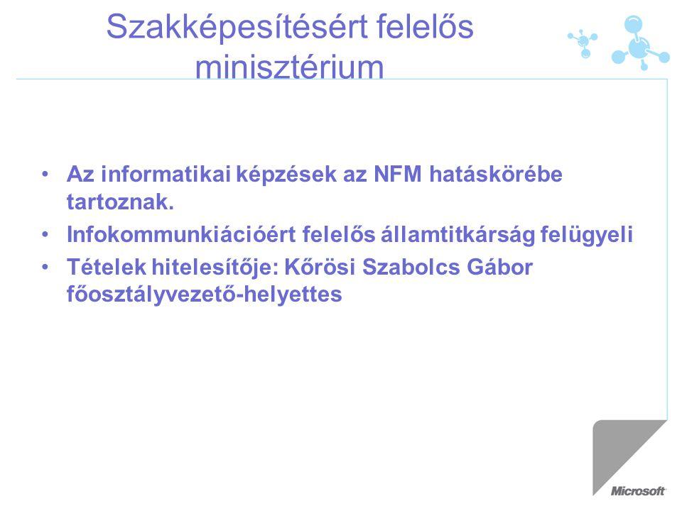 Szakképesítésért felelős minisztérium Az informatikai képzések az NFM hatáskörébe tartoznak. Infokommunkiációért felelős államtitkárság felügyeli Téte